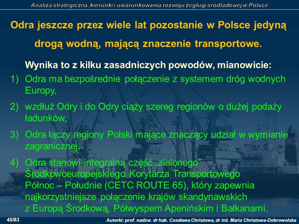 Odra jeszcze przez wiele lat pozostanie w Polsce jedyną drogą wodną, mającą znaczenie transportowe. Wynika to z kilku zasadniczych powodów, mianowicie: