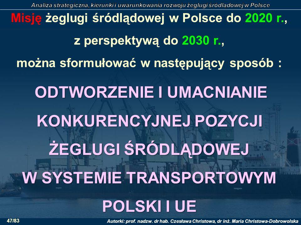 Misję żeglugi śródlądowej w Polsce do 2020 r., z perspektywą do 2030 r., można sformułować w następujący sposób : ODTWORZENIE I UMACNIANIE KONKURENCYJNEJ POZYCJI ŻEGLUGI ŚRÓDLĄDOWEJ W SYSTEMIE TRANSPORTOWYM POLSKI I UE