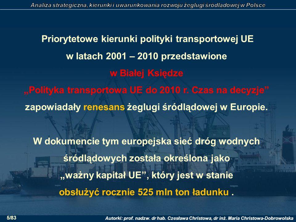 """Priorytetowe kierunki polityki transportowej UE w latach 2001 – 2010 przedstawione w Białej Księdze """"Polityka transportowa UE do 2010 r."""