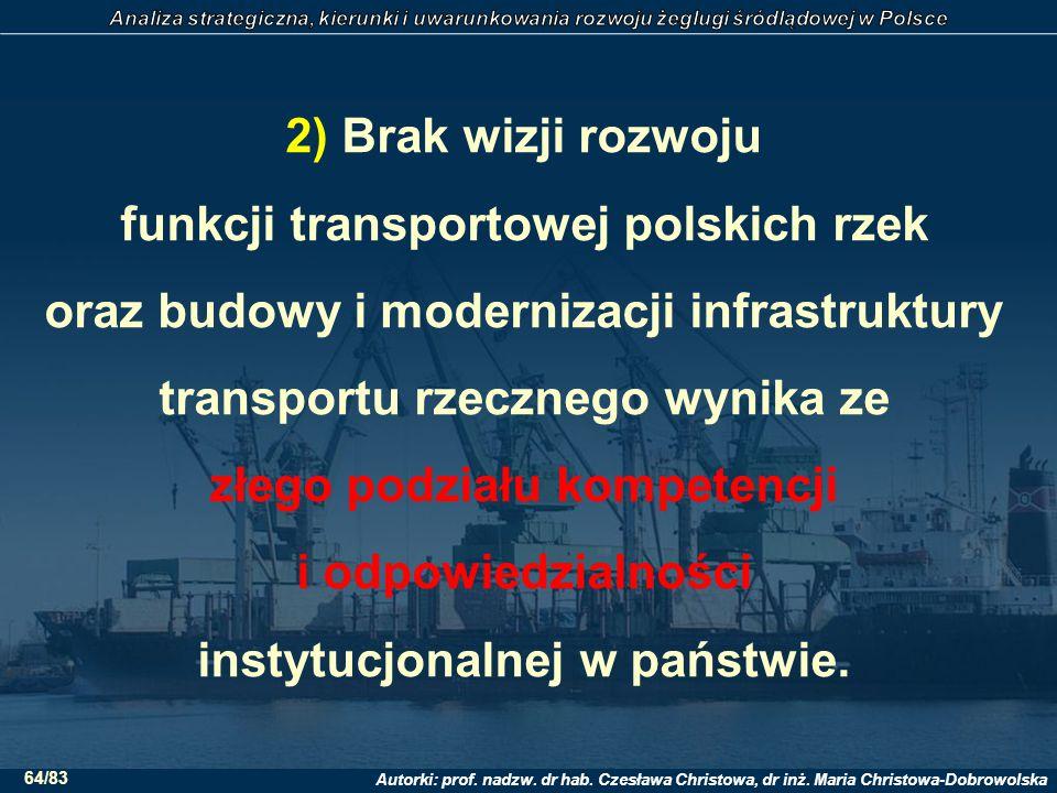 2) Brak wizji rozwoju funkcji transportowej polskich rzek oraz budowy i modernizacji infrastruktury transportu rzecznego wynika ze złego podziału kompetencji i odpowiedzialności instytucjonalnej w państwie.