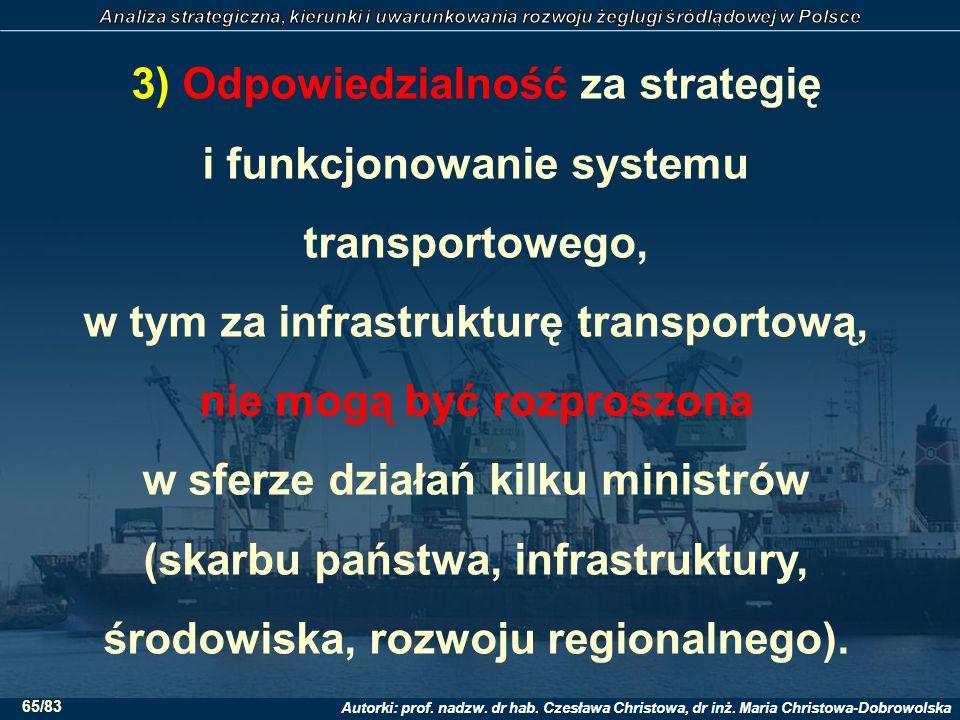 3) Odpowiedzialność za strategię i funkcjonowanie systemu transportowego, w tym za infrastrukturę transportową, nie mogą być rozproszona w sferze działań kilku ministrów (skarbu państwa, infrastruktury, środowiska, rozwoju regionalnego).