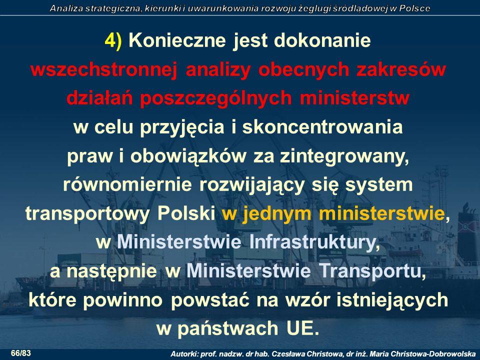 4) Konieczne jest dokonanie wszechstronnej analizy obecnych zakresów działań poszczególnych ministerstw w celu przyjęcia i skoncentrowania praw i obowiązków za zintegrowany, równomiernie rozwijający się system transportowy Polski w jednym ministerstwie, w Ministerstwie Infrastruktury, a następnie w Ministerstwie Transportu, które powinno powstać na wzór istniejących w państwach UE.