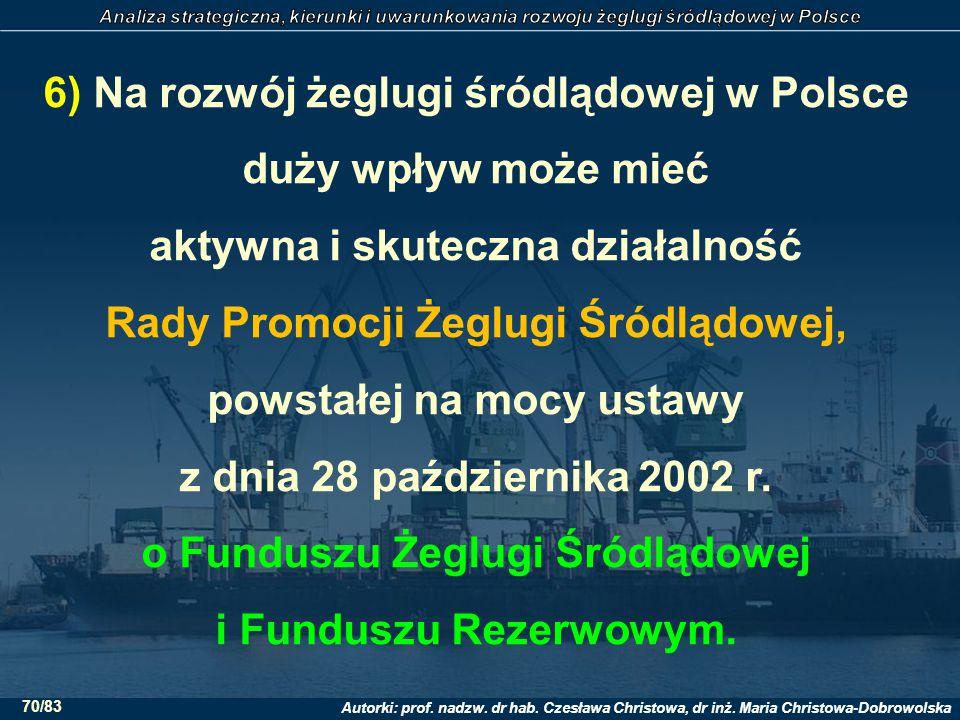 6) Na rozwój żeglugi śródlądowej w Polsce duży wpływ może mieć aktywna i skuteczna działalność Rady Promocji Żeglugi Śródlądowej, powstałej na mocy ustawy z dnia 28 października 2002 r.