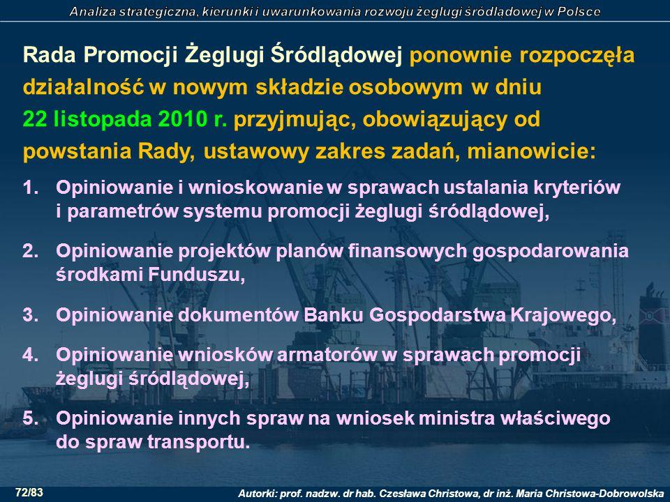 Rada Promocji Żeglugi Śródlądowej ponownie rozpoczęła działalność w nowym składzie osobowym w dniu 22 listopada 2010 r. przyjmując, obowiązujący od powstania Rady, ustawowy zakres zadań, mianowicie: