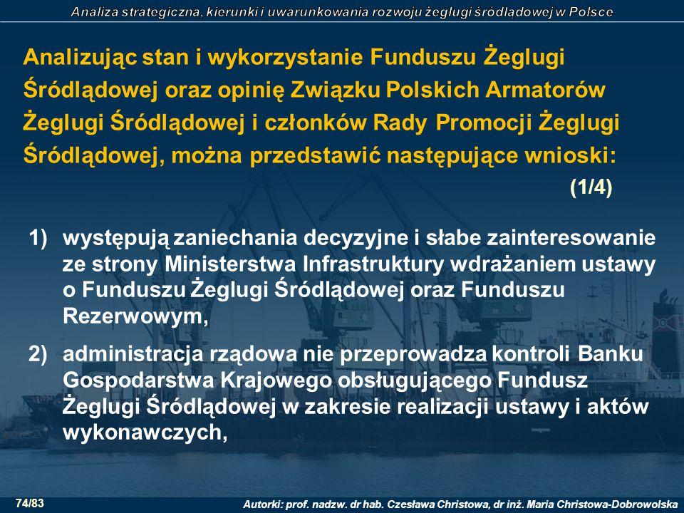 Analizując stan i wykorzystanie Funduszu Żeglugi Śródlądowej oraz opinię Związku Polskich Armatorów Żeglugi Śródlądowej i członków Rady Promocji Żeglugi Śródlądowej, można przedstawić następujące wnioski: (1/4)