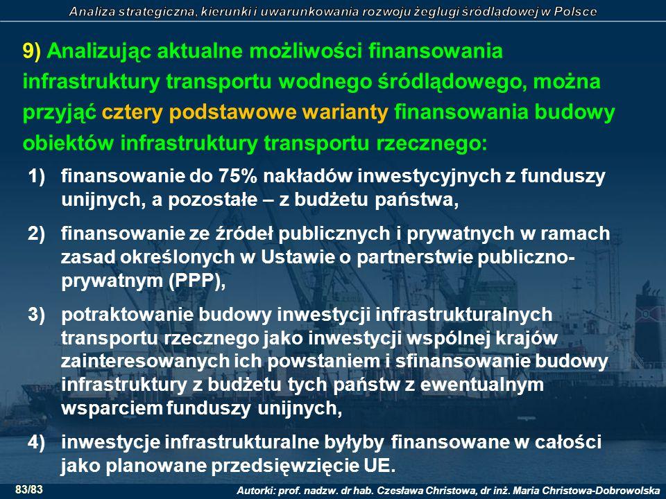 9) Analizując aktualne możliwości finansowania infrastruktury transportu wodnego śródlądowego, można przyjąć cztery podstawowe warianty finansowania budowy obiektów infrastruktury transportu rzecznego: