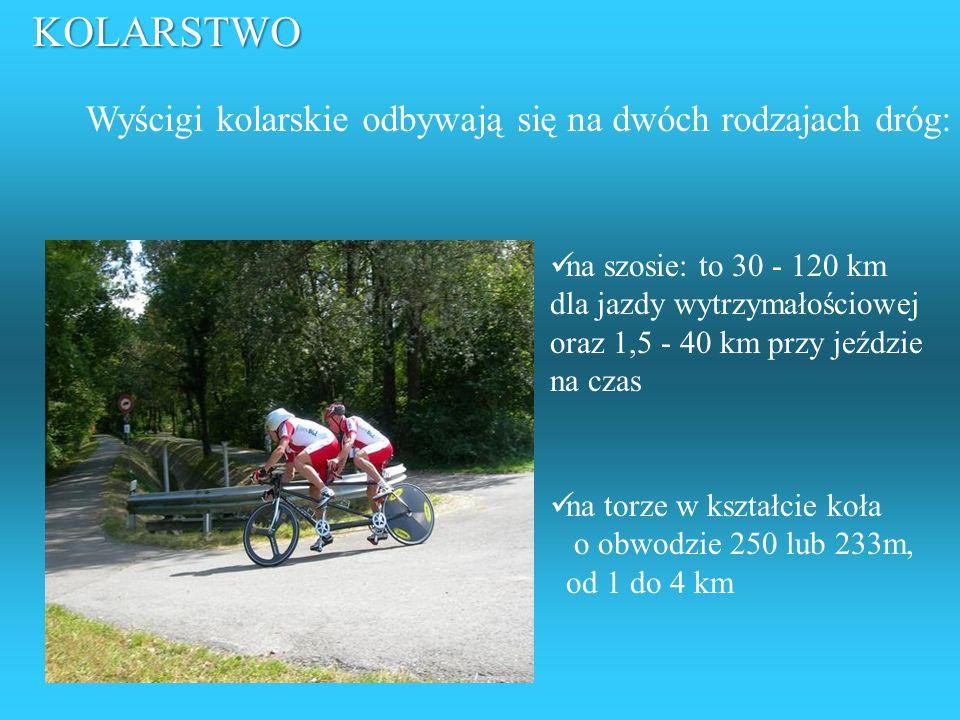 KOLARSTWO Wyścigi kolarskie odbywają się na dwóch rodzajach dróg: