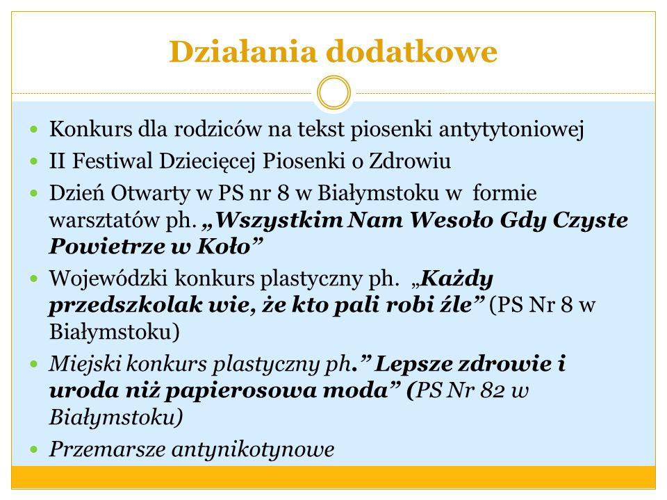 Działania dodatkowe Konkurs dla rodziców na tekst piosenki antytytoniowej. II Festiwal Dziecięcej Piosenki o Zdrowiu.