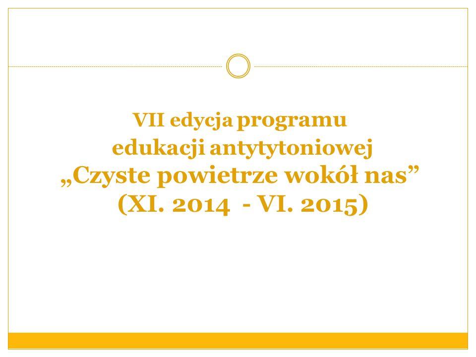 """VII edycja programu edukacji antytytoniowej """"Czyste powietrze wokół nas (XI. 2014 - VI. 2015)"""