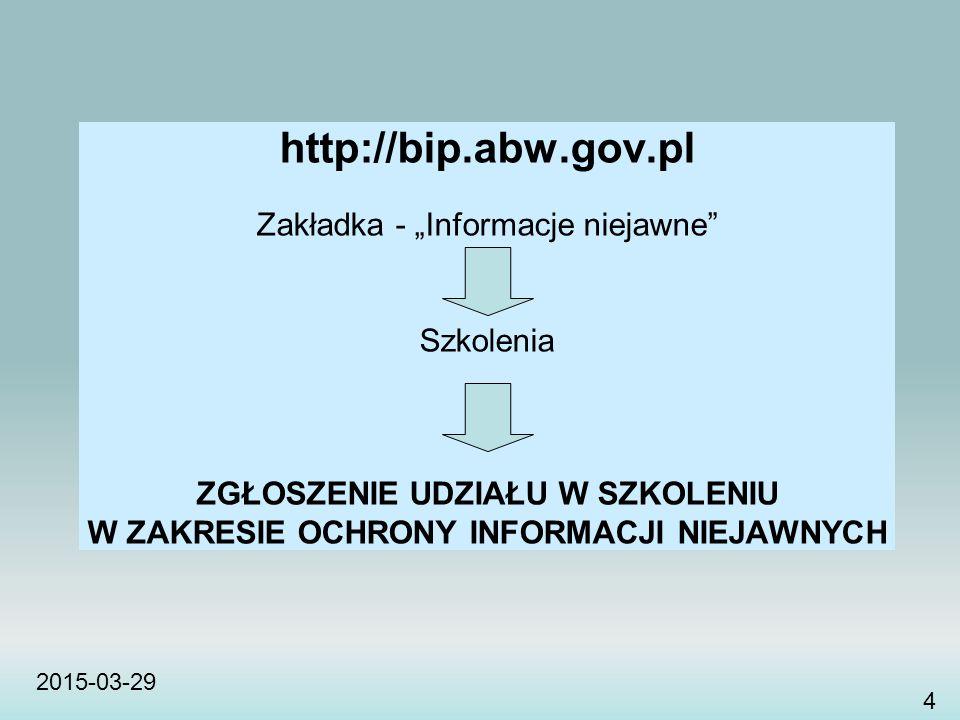 """http://bip.abw.gov.pl Zakładka - """"Informacje niejawne Szkolenia"""
