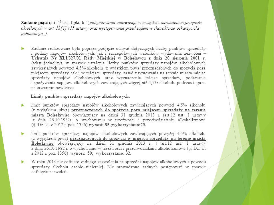 Zadanie piąte (art. 41 ust. 1 pkt