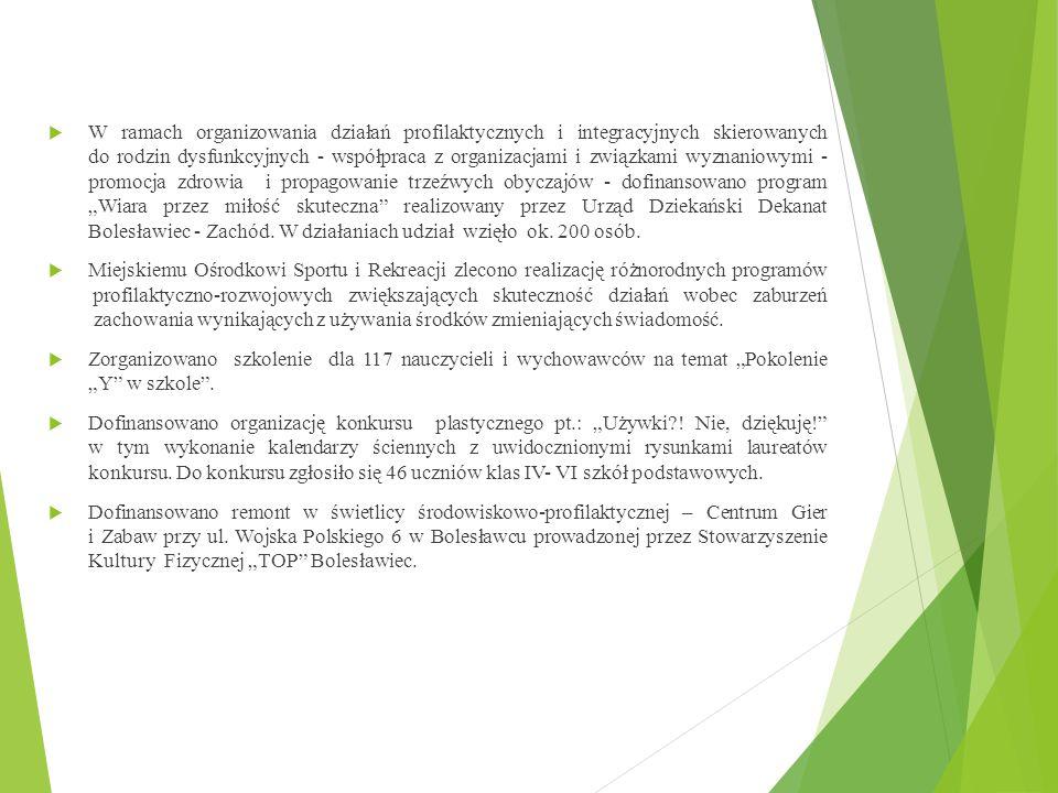 """W ramach organizowania działań profilaktycznych i integracyjnych skierowanych do rodzin dysfunkcyjnych - współpraca z organizacjami i związkami wyznaniowymi - promocja zdrowia i propagowanie trzeźwych obyczajów - dofinansowano program """"Wiara przez miłość skuteczna realizowany przez Urząd Dziekański Dekanat Bolesławiec - Zachód. W działaniach udział wzięło ok. 200 osób."""