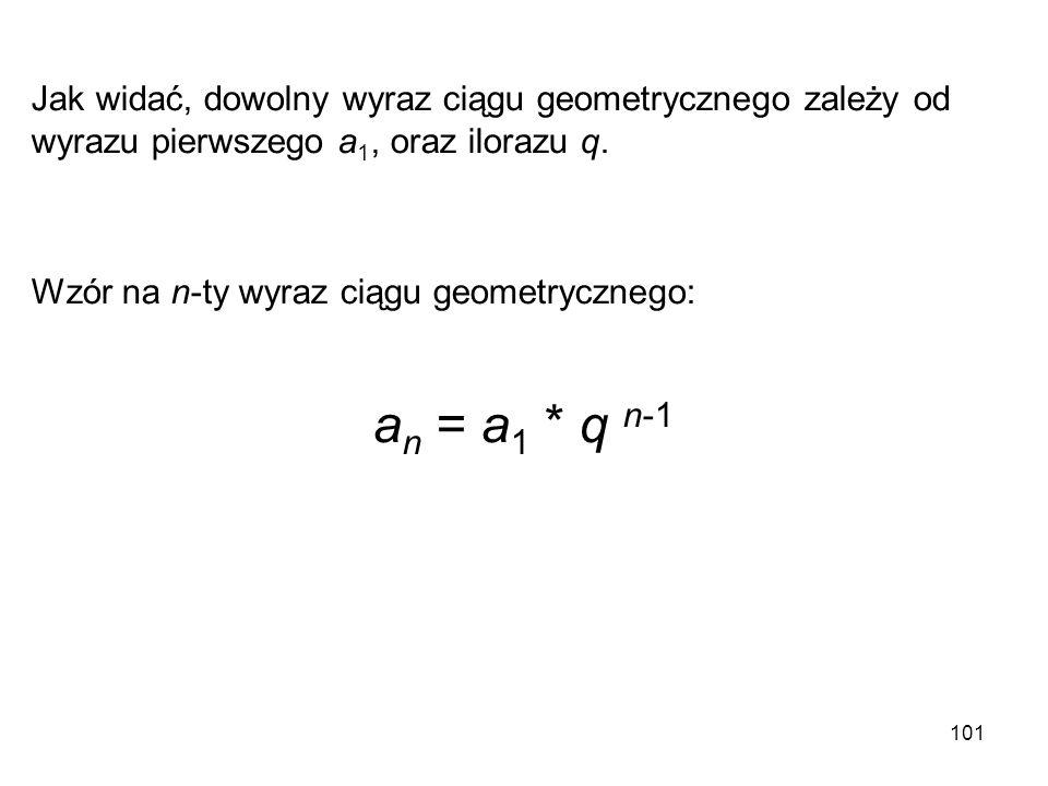 Jak widać, dowolny wyraz ciągu geometrycznego zależy od wyrazu pierwszego a1, oraz ilorazu q.