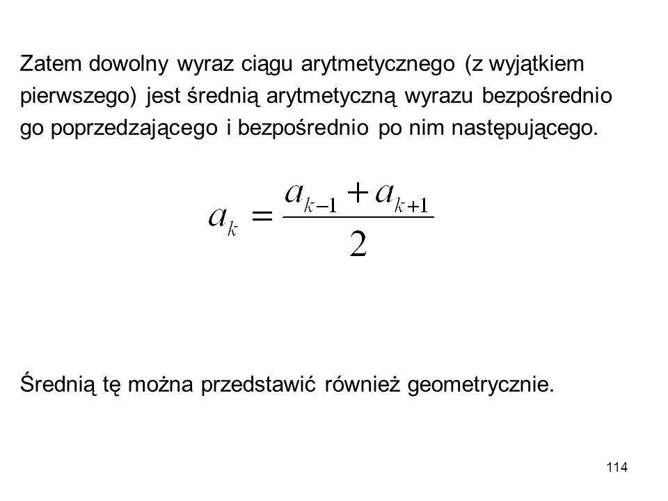Zatem dowolny wyraz ciągu arytmetycznego (z wyjątkiem
