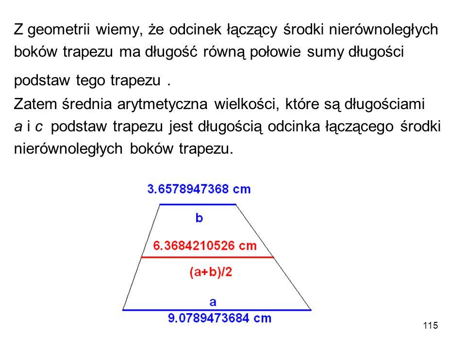 Z geometrii wiemy, że odcinek łączący środki nierównoległych