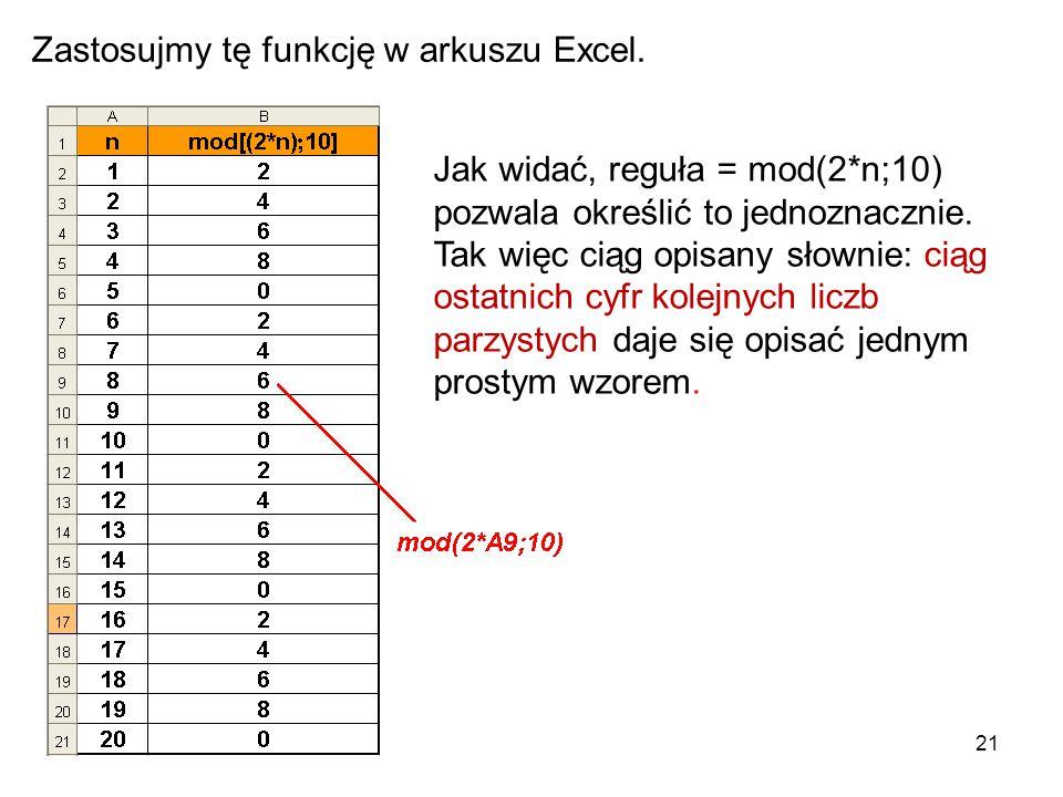 Zastosujmy tę funkcję w arkuszu Excel.