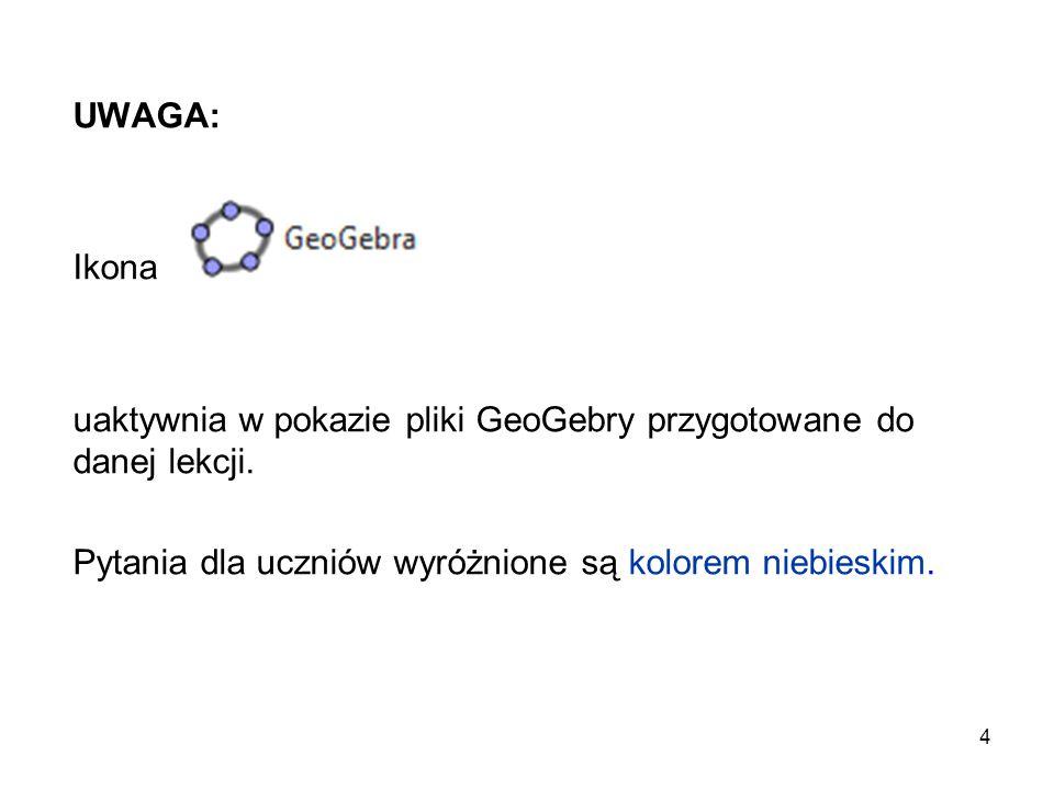 UWAGA: Ikona. uaktywnia w pokazie pliki GeoGebry przygotowane do danej lekcji.