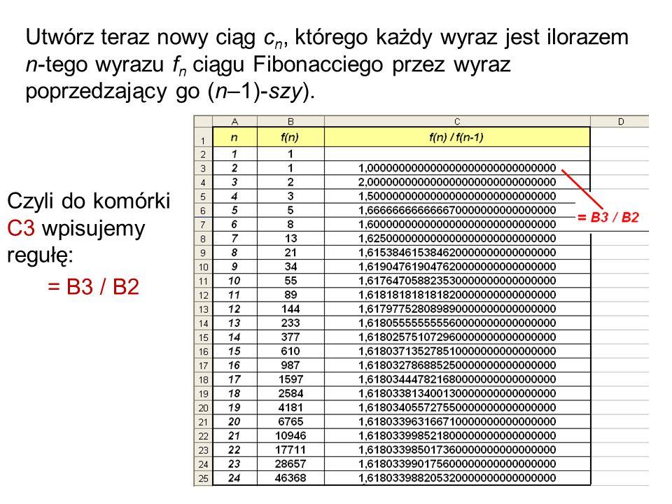 Utwórz teraz nowy ciąg cn, którego każdy wyraz jest ilorazem n-tego wyrazu fn ciągu Fibonacciego przez wyraz poprzedzający go (n–1)-szy).