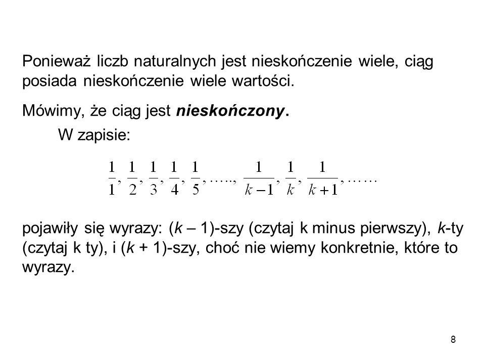 Ponieważ liczb naturalnych jest nieskończenie wiele, ciąg posiada nieskończenie wiele wartości.