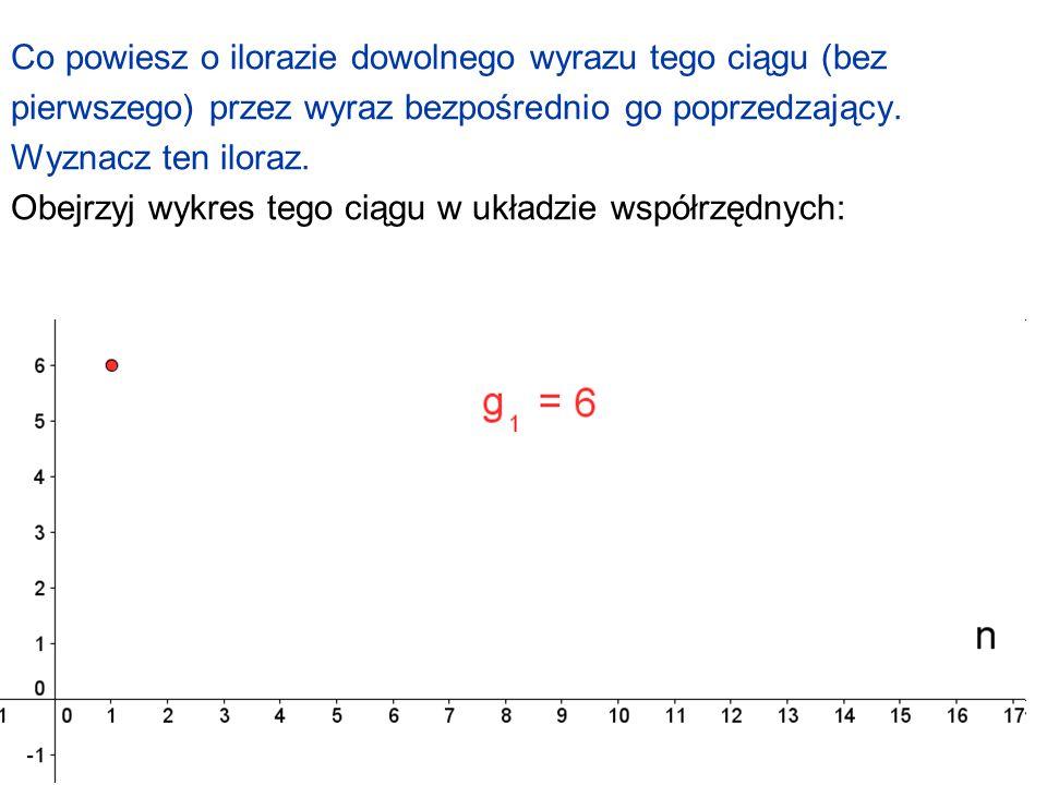 Co powiesz o ilorazie dowolnego wyrazu tego ciągu (bez