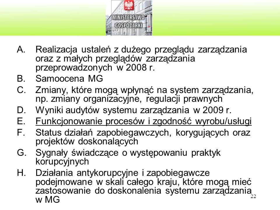 Realizacja ustaleń z dużego przeglądu zarządzania oraz z małych przeglądów zarządzania przeprowadzonych w 2008 r.