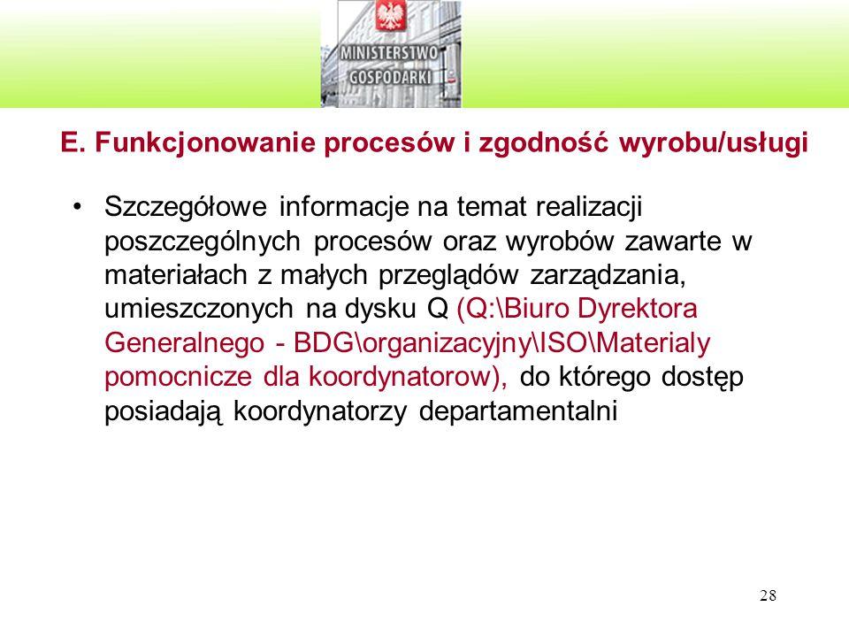 E. Funkcjonowanie procesów i zgodność wyrobu/usługi