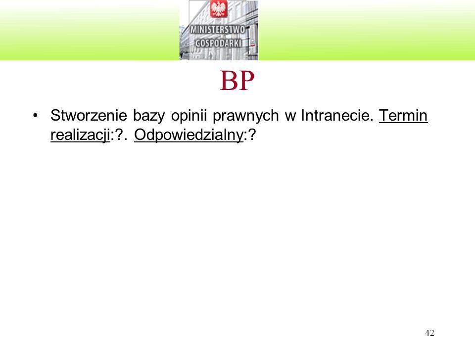 BP Stworzenie bazy opinii prawnych w Intranecie. Termin realizacji: . Odpowiedzialny: