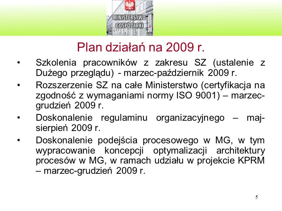 Plan działań na 2009 r. Szkolenia pracowników z zakresu SZ (ustalenie z Dużego przeglądu) - marzec-październik 2009 r.