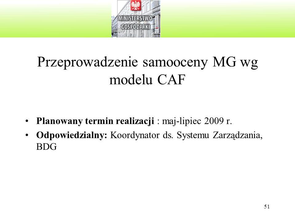 Przeprowadzenie samooceny MG wg modelu CAF