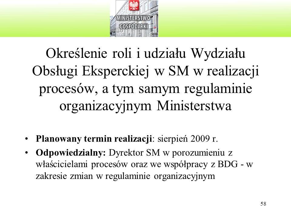 Określenie roli i udziału Wydziału Obsługi Eksperckiej w SM w realizacji procesów, a tym samym regulaminie organizacyjnym Ministerstwa