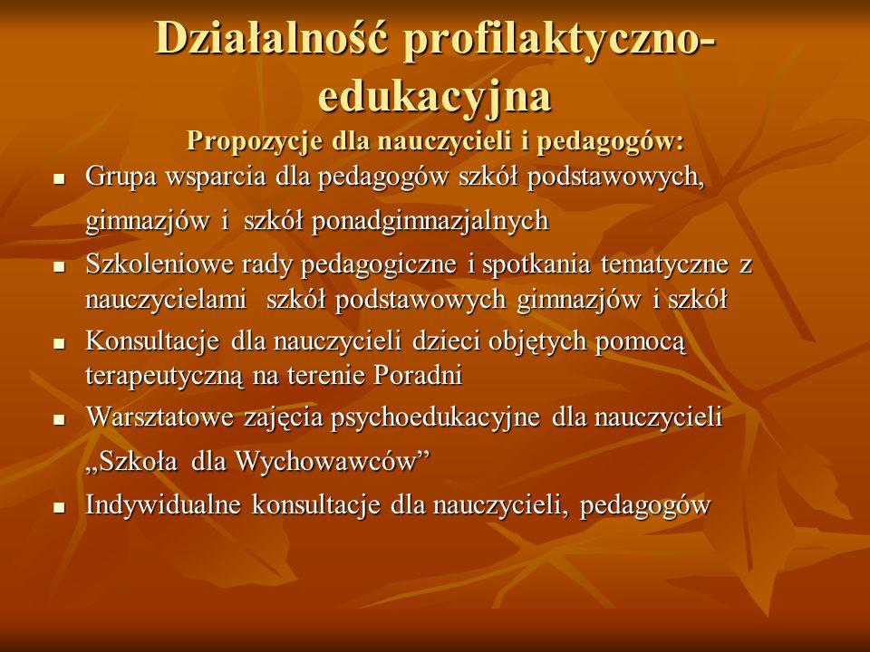 Działalność profilaktyczno-edukacyjna Propozycje dla nauczycieli i pedagogów: