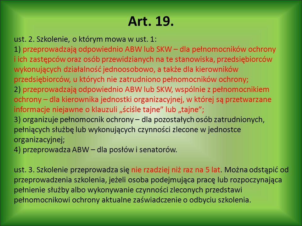 Art. 19. ust. 2. Szkolenie, o którym mowa w ust. 1: