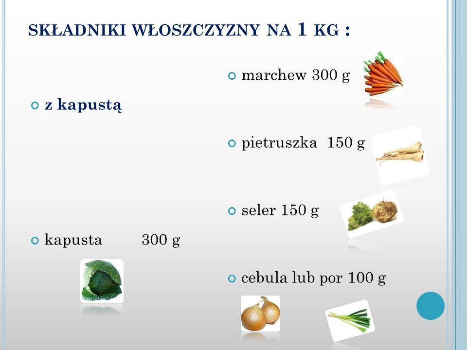 składniki włoszczyzny na 1 kg :