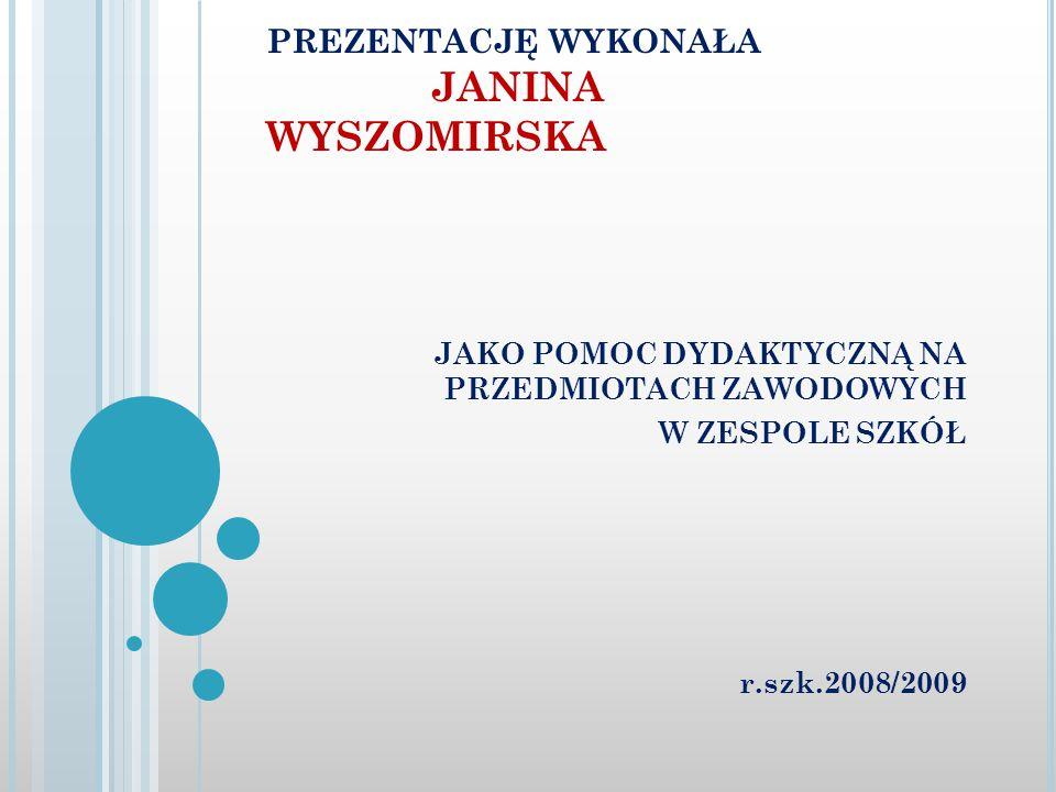 prezentację wykonała JANINA WYSZOMIRSKA