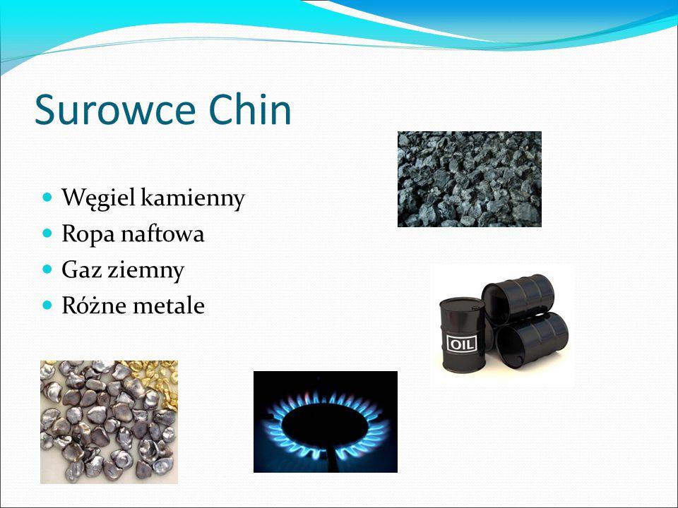 Surowce Chin Węgiel kamienny Ropa naftowa Gaz ziemny Różne metale