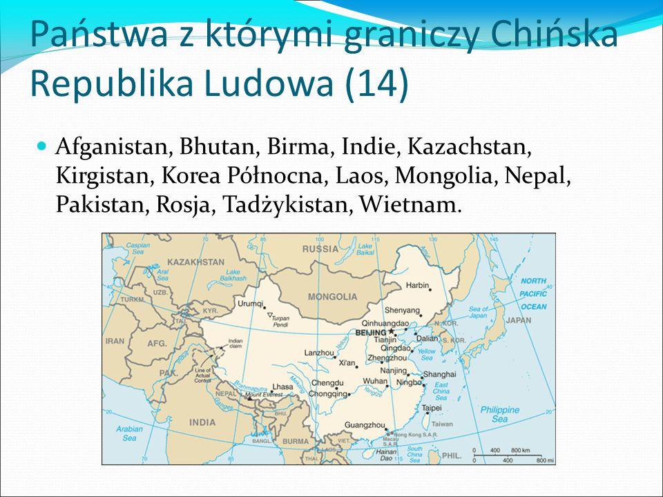 Państwa z którymi graniczy Chińska Republika Ludowa (14)