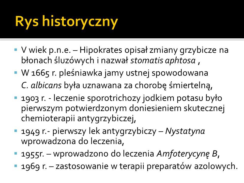 Rys historyczny V wiek p.n.e. – Hipokrates opisał zmiany grzybicze na błonach śluzówych i nazwał stomatis aphtosa ,