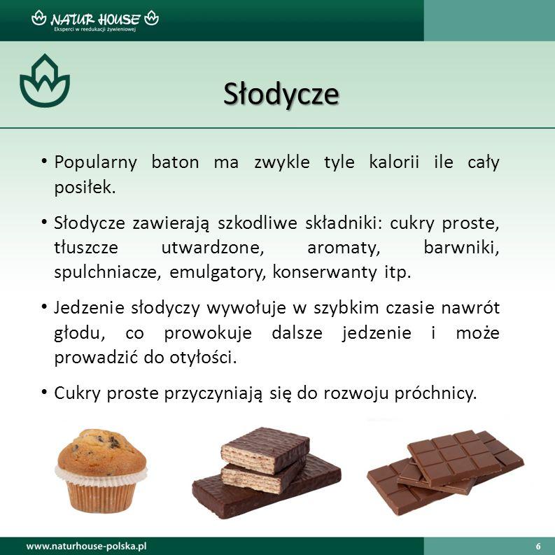 Słodycze Popularny baton ma zwykle tyle kalorii ile cały posiłek.