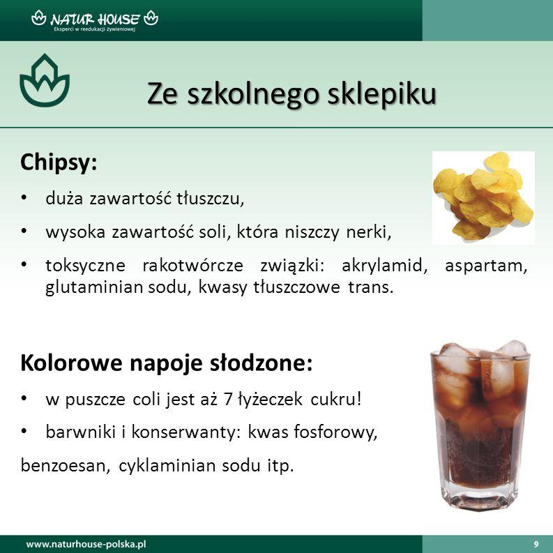 Ze szkolnego sklepiku Chipsy: Kolorowe napoje słodzone: