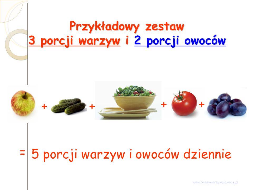 Przykładowy zestaw 3 porcji warzyw i 2 porcji owoców