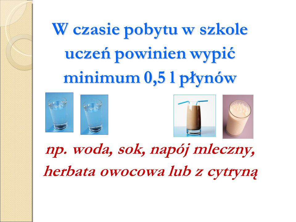W czasie pobytu w szkole uczeń powinien wypić minimum 0,5 l płynów