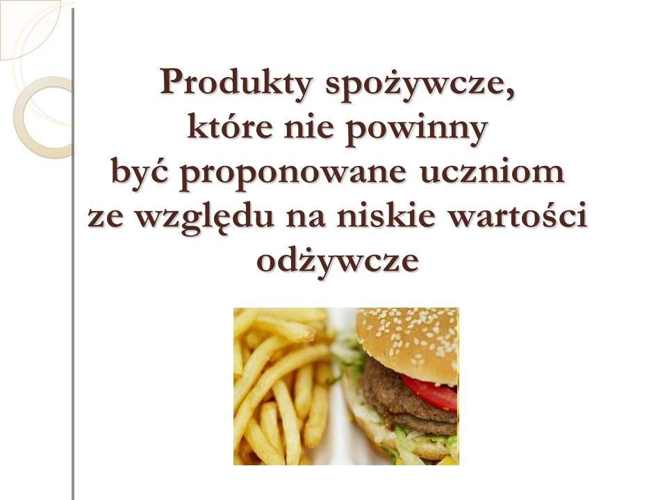 Produkty spożywcze, które nie powinny być proponowane uczniom ze względu na niskie wartości odżywcze