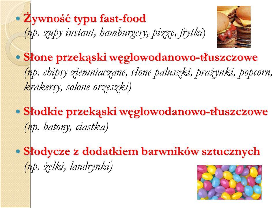 Żywność typu fast-food (np. zupy instant, hamburgery, pizze, frytki)