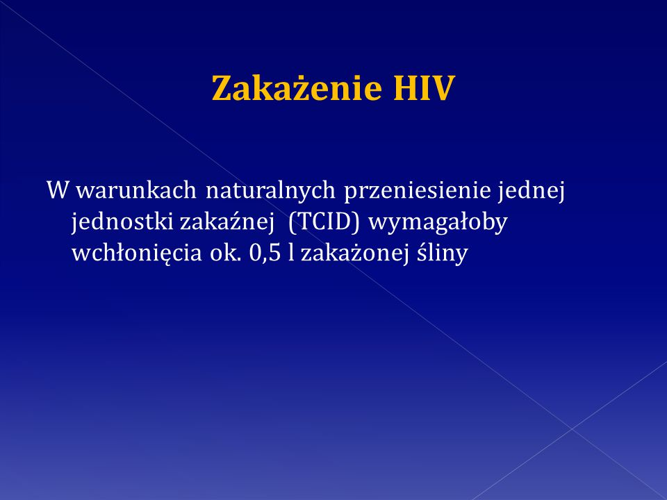 Zakażenie HIV W warunkach naturalnych przeniesienie jednej jednostki zakaźnej (TCID) wymagałoby wchłonięcia ok.