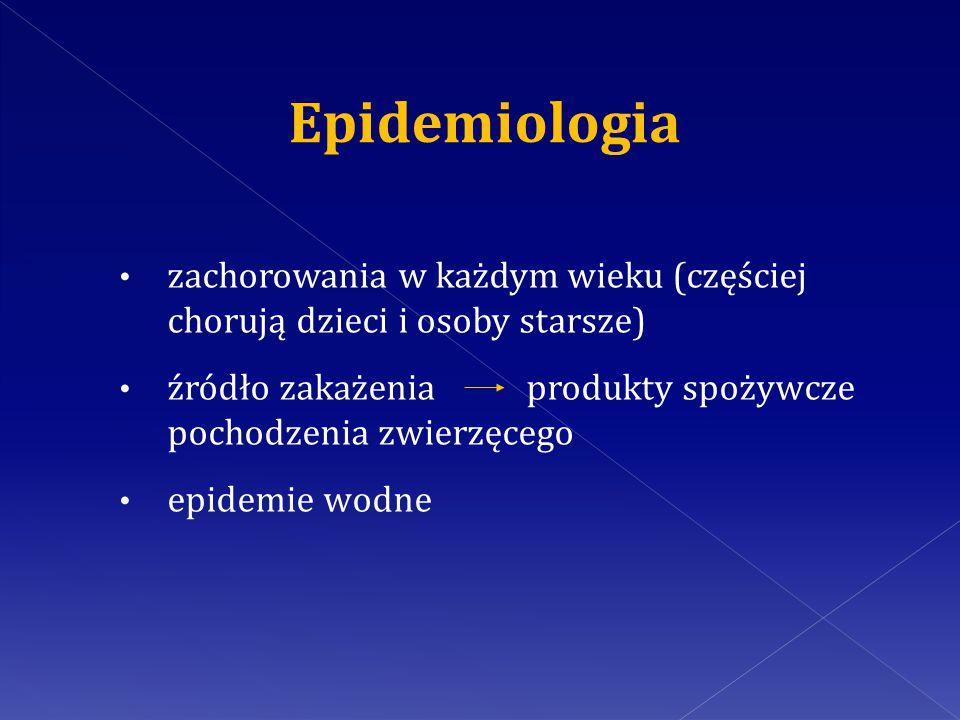 Epidemiologia zachorowania w każdym wieku (częściej chorują dzieci i osoby starsze)