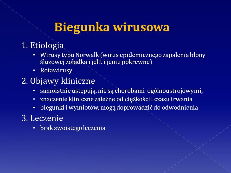 Biegunka wirusowa 1. Etiologia 2. Objawy kliniczne 3. Leczenie