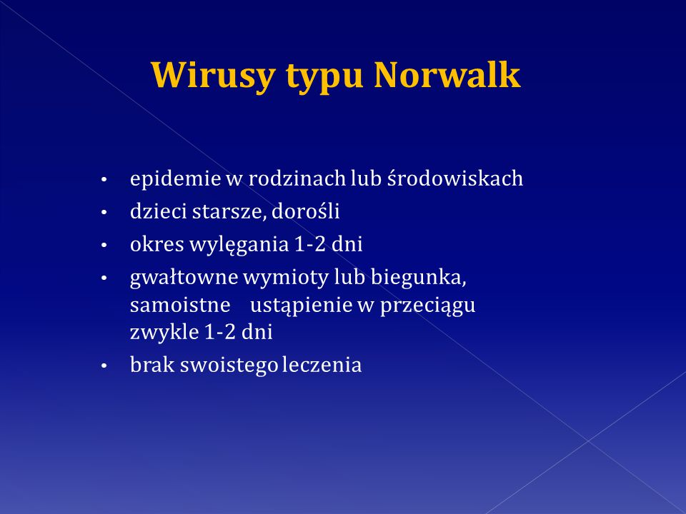 Wirusy typu Norwalk epidemie w rodzinach lub środowiskach