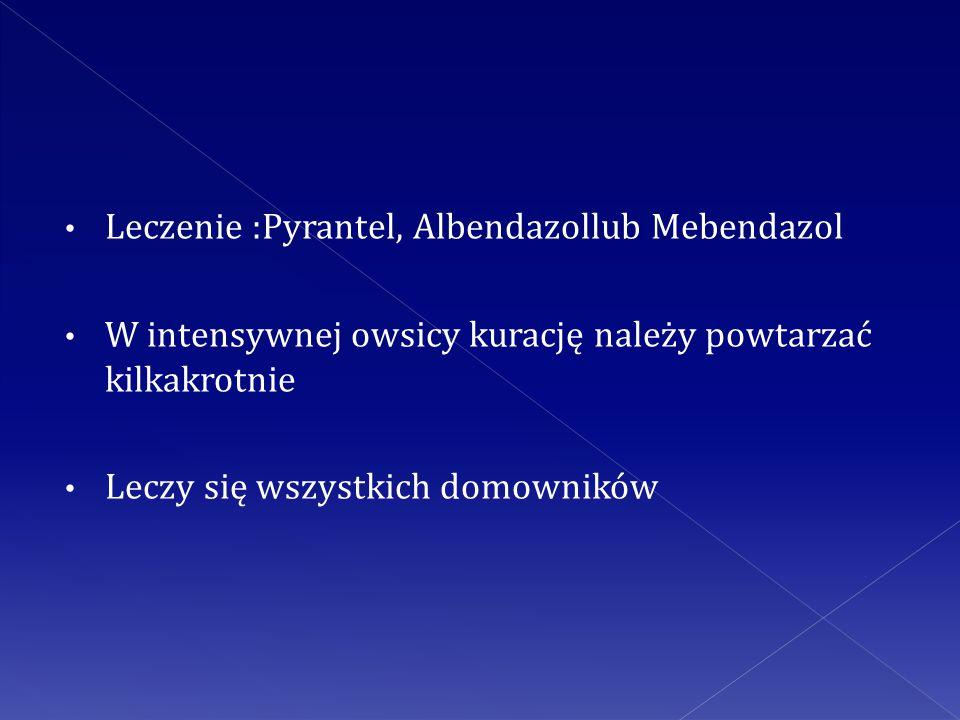 Leczenie :Pyrantel, Albendazollub Mebendazol