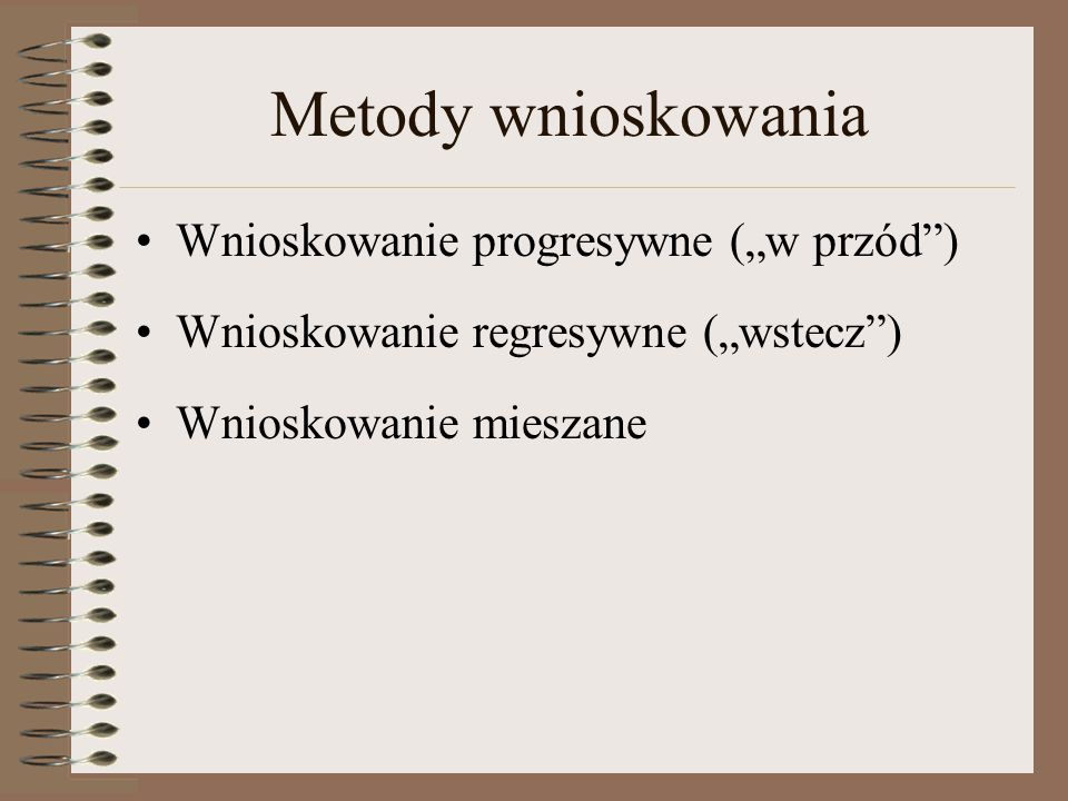 """Metody wnioskowania Wnioskowanie progresywne (""""w przód )"""