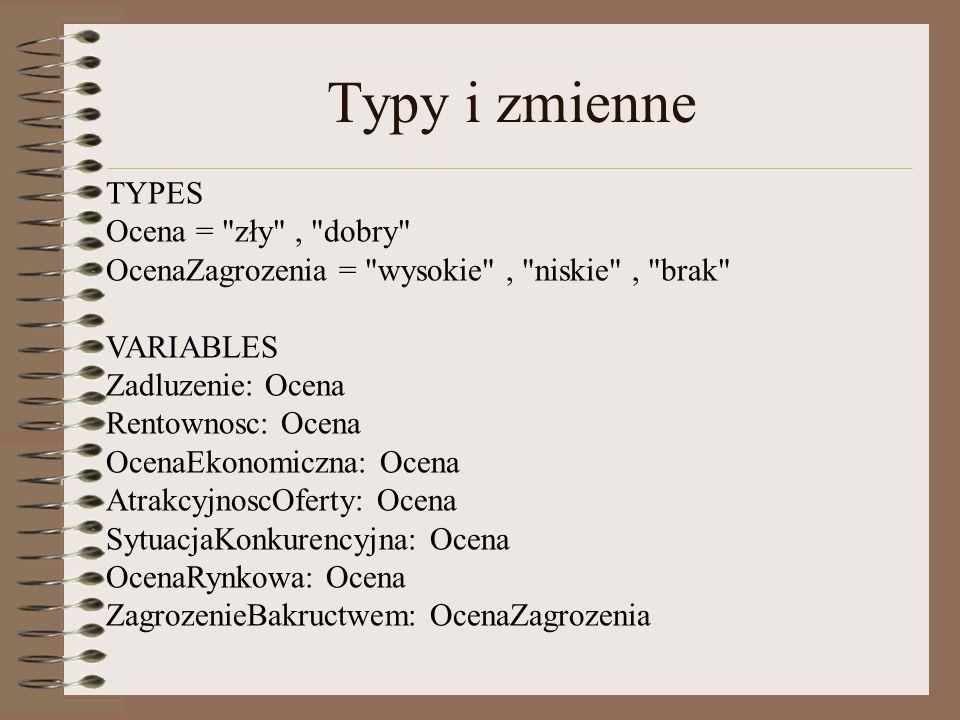 Typy i zmienne TYPES. Ocena = zły , dobry OcenaZagrozenia = wysokie , niskie , brak VARIABLES.